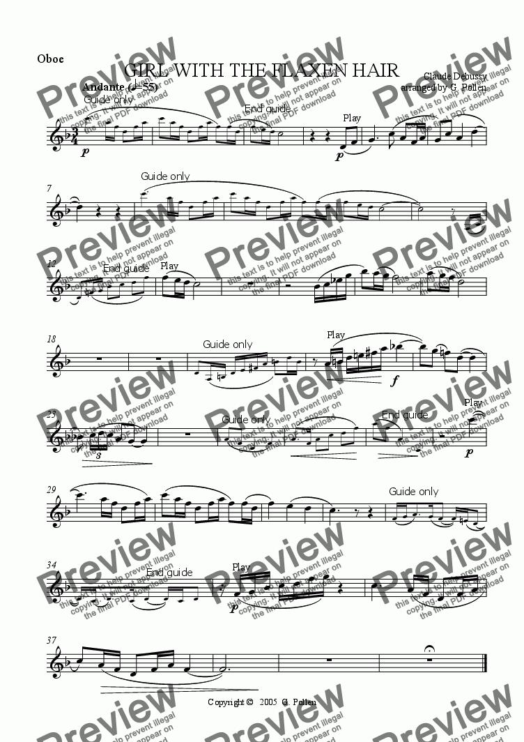 page one of the Oboe part from La fille aux cheveux de lin (Girl with the flaxen hair) (ME)