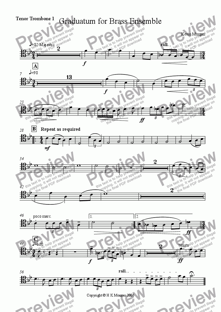 page one of the Trombone 1 part from Graduatum for Brass Ensemble