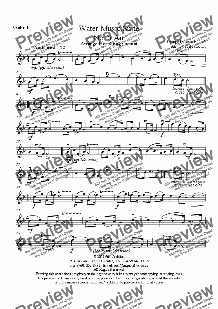 page one of the Violin I part from Water Music Suite, No. 5, Air (F)