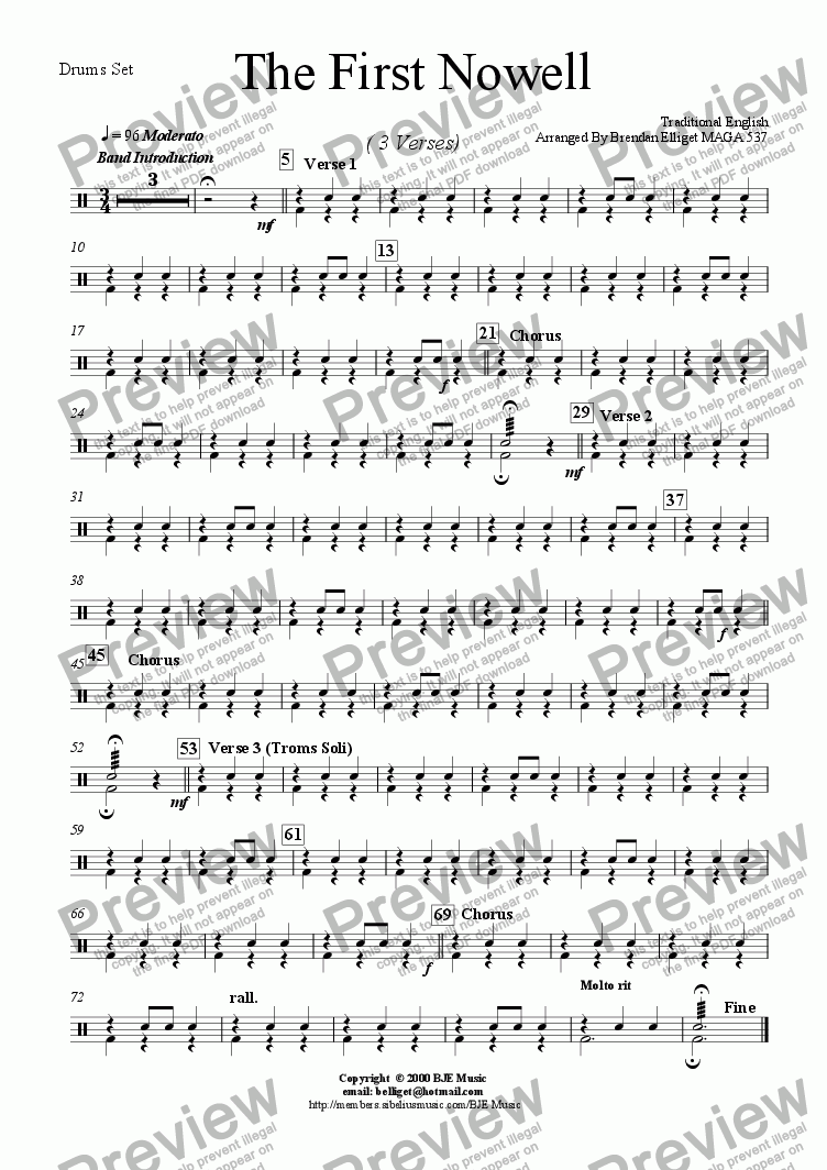 page one of the Drums Set part from The First Nowell (Christmas) - Concert Band