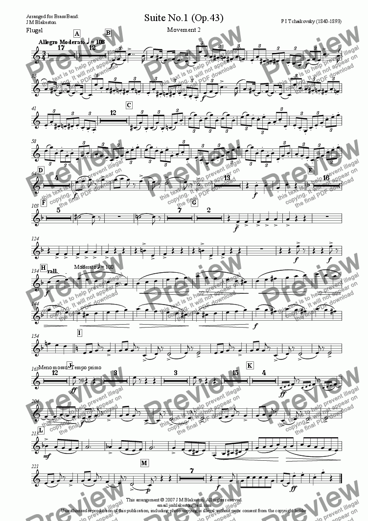page one of the Flugel part from Suite No1 (Brass Band)