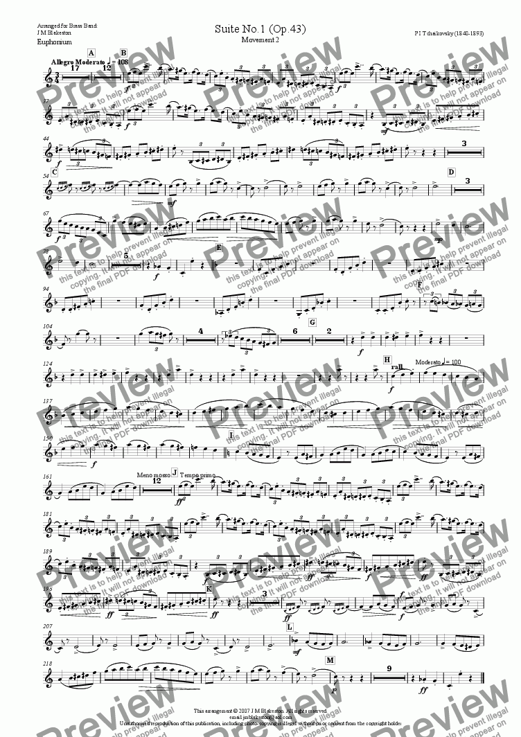 page one of the Euphunium part from Suite No1 (Brass Band)