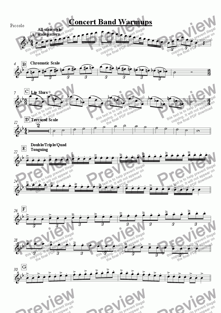 page one of the Piccolo part from Concert Band Warmups