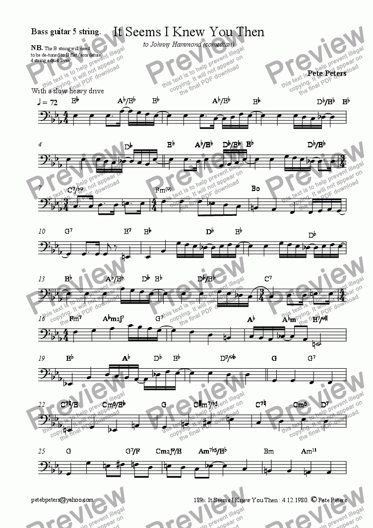 page one of the Bass part from It Seems I Knew You Then [vocal]