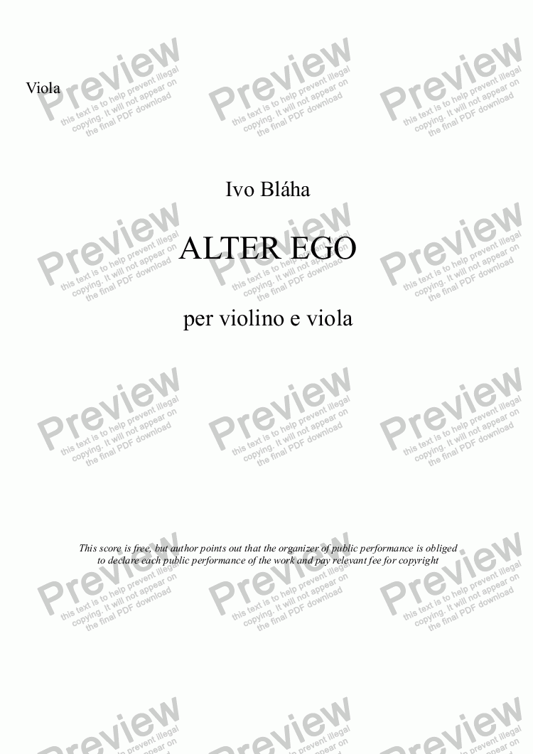 page one of the Viola part from ALTER EGO per violino e viola