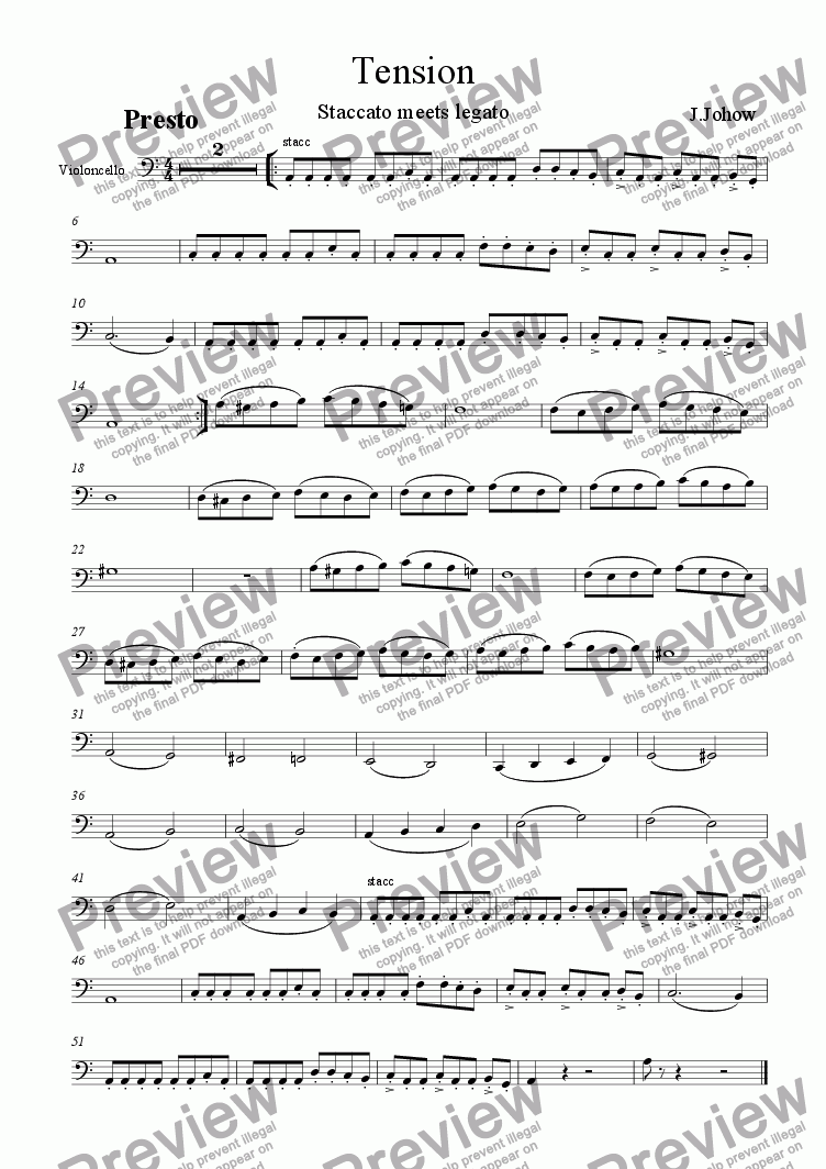 page one of the Vlc part from Tension (Strings and Piano)