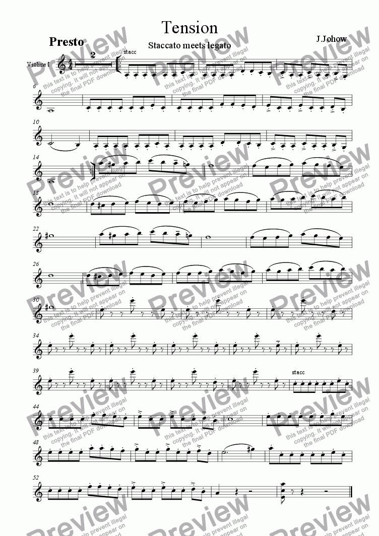 page one of the 1.Vl part from Tension (Strings and Piano)