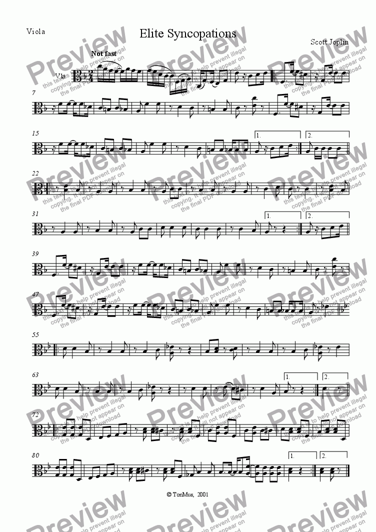 page one of the Viola part from Elite Syncopations
