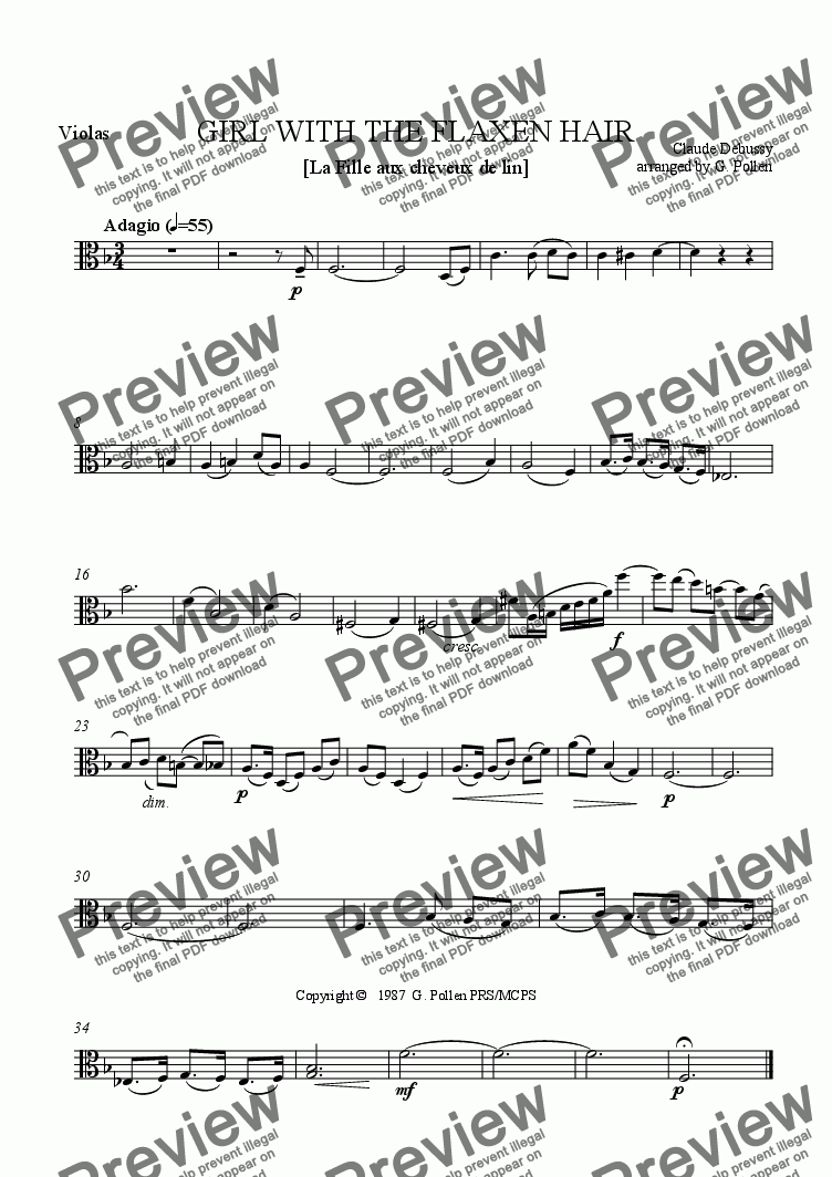 page one of the Violas part from La fille aux cheveux de lin (Girl with the flaxen hair)