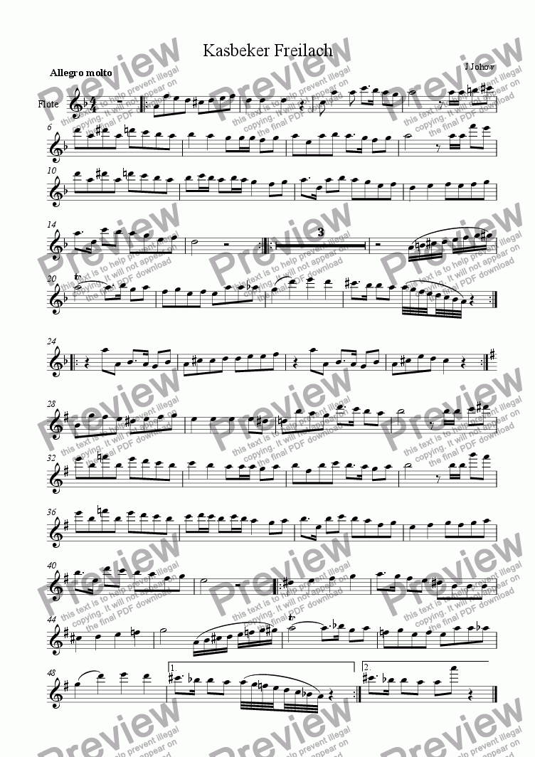 page one of the Fl part from Kasbeker Freilach