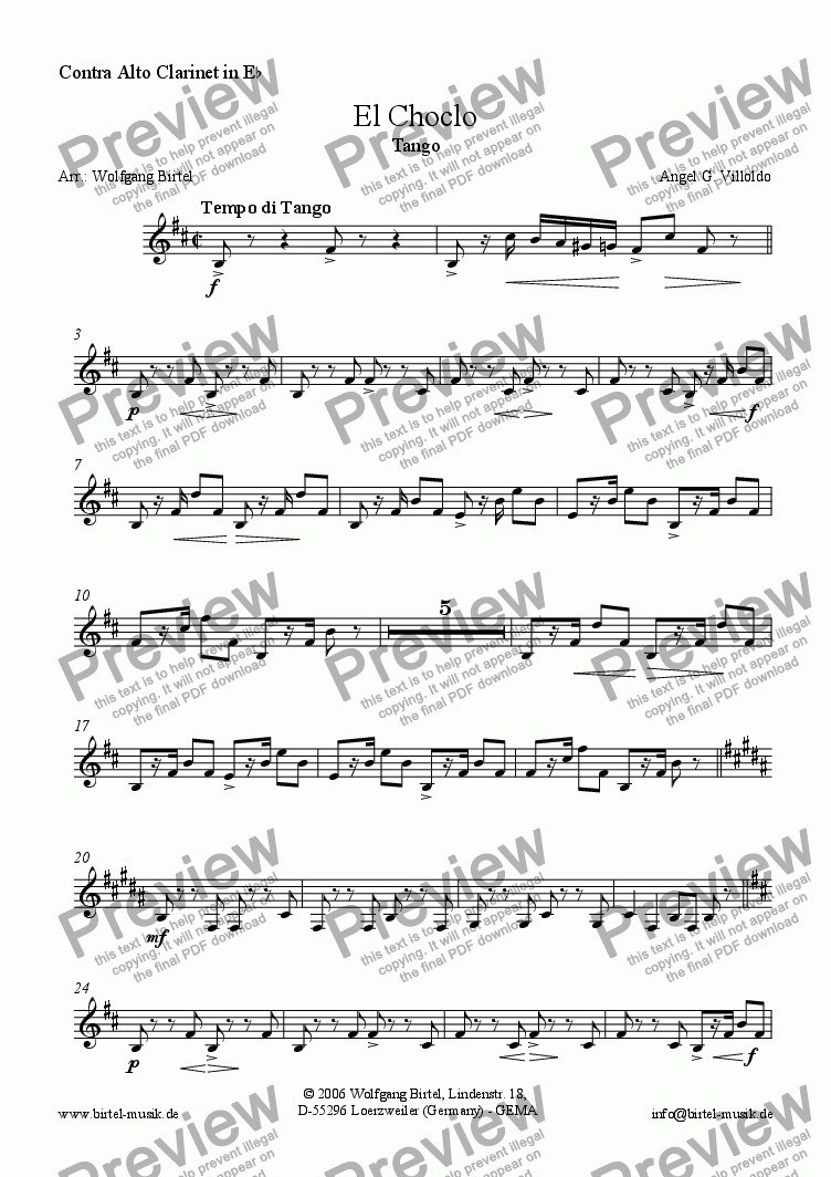 page one of the Contra Alto Clarinet part from El Choclo. Tango (Clarinet choir)