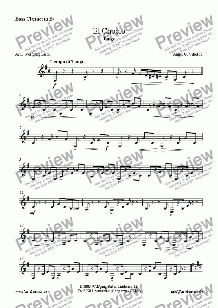 page one of the Bass Clarinet part from El Choclo. Tango (Clarinet choir)