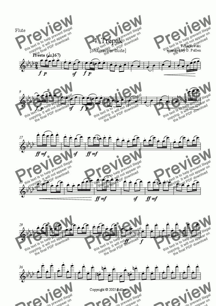 page one of the Flute part from Nutcracker Suite - 4. Russian dance - Trepak (ME)