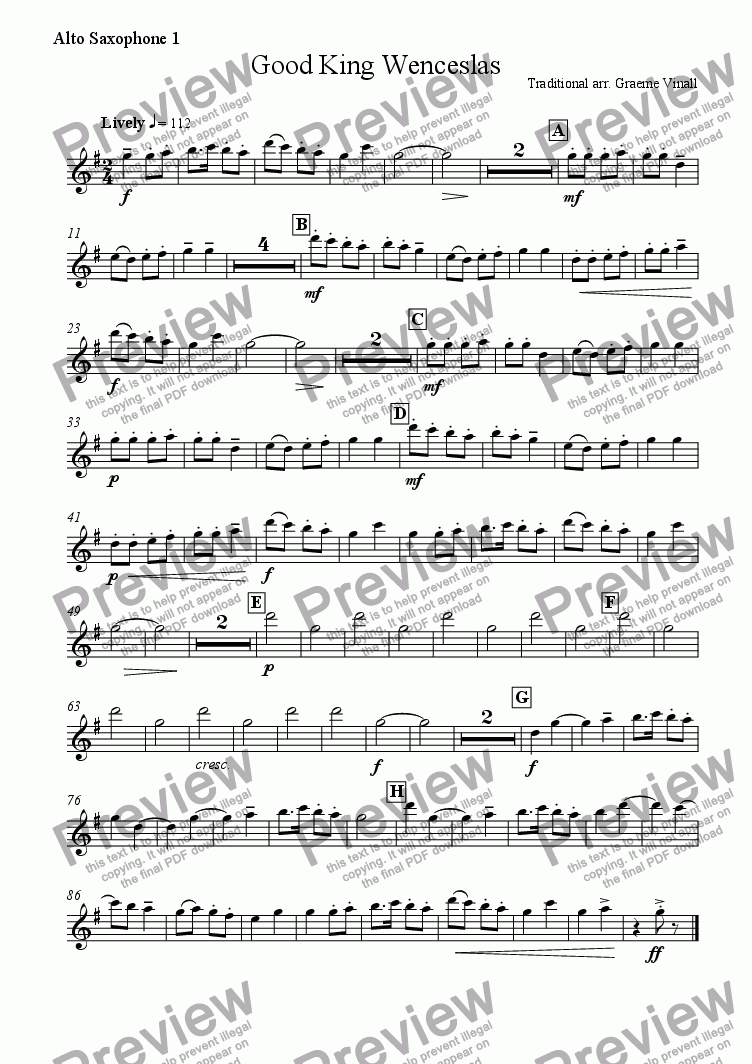 page one of the Alto Saxophone 1 part from Good King Wenceslas