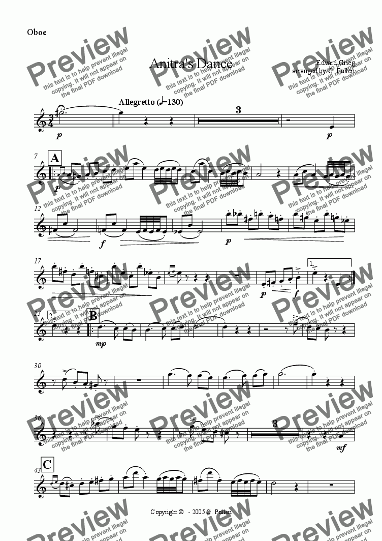 page one of the Oboe part from Anitra's Dance [Peer Gynt Suite No. 1] Op. 46 (ME)