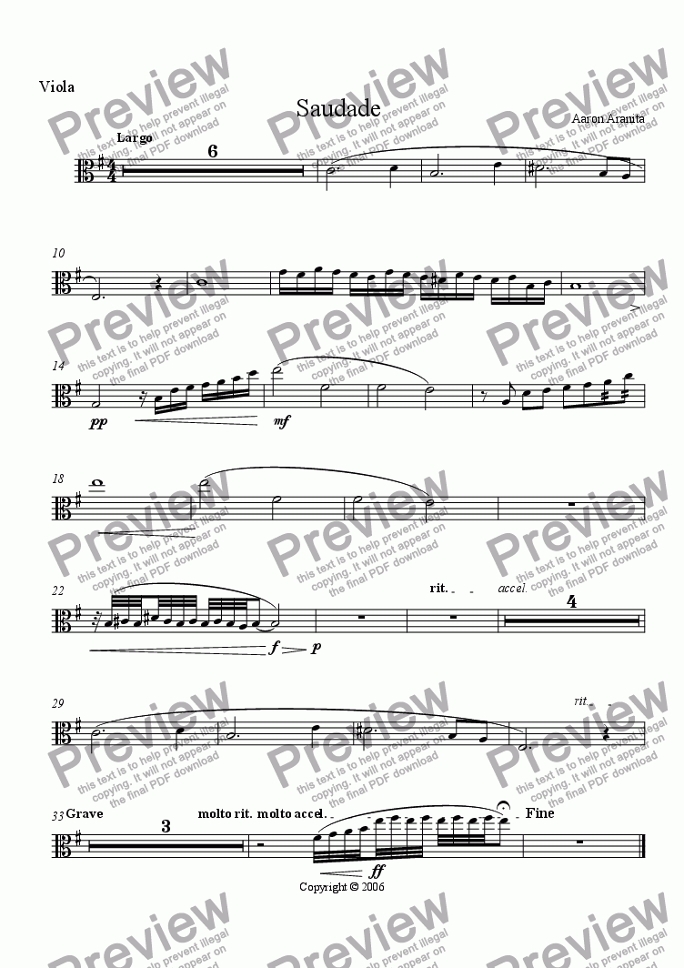 page one of the Viola part from Saudade