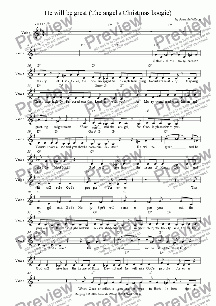 page one of the vocal (lead sheet) part from Angels sing: He will be great ( The Angel's Christmas boogie)