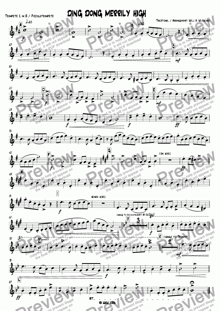 page one of the 1st Trumpet Bb part from DING DONG MERRILY ON HIGH