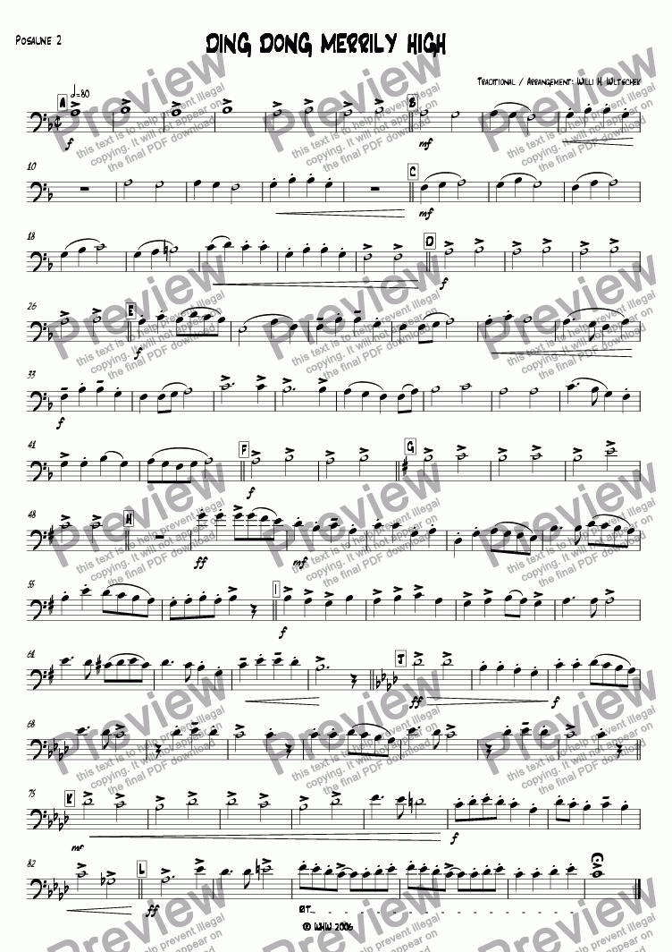 page one of the 2nd Trombone C part from DING DONG MERRILY ON HIGH