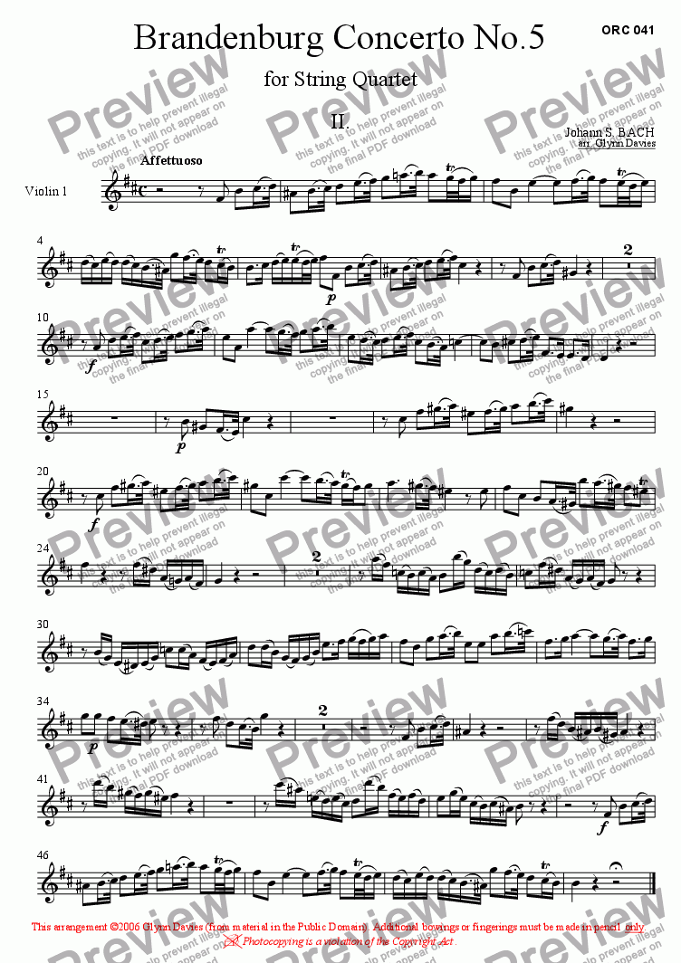 page one of the Violin 1 part from Brandenburg Concerto No.5 - 2. Affettuoso