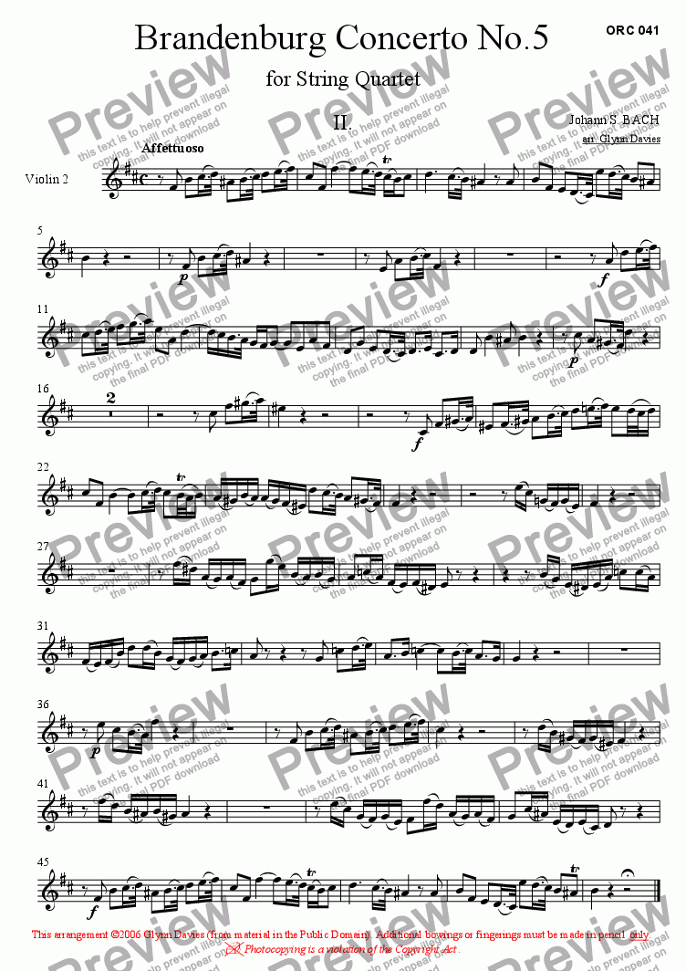 page one of the Violin 2 part from Brandenburg Concerto No.5 - 2. Affettuoso