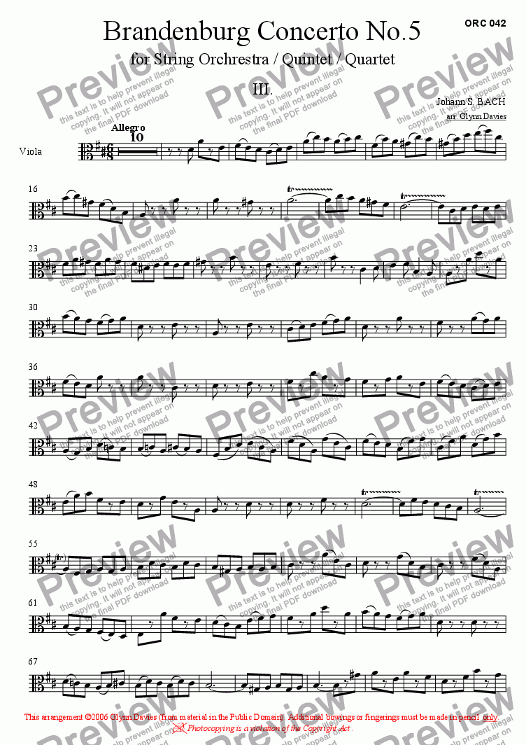 page one of the Viola part from Brandenburg Concerto No.5 - 3. Allegro