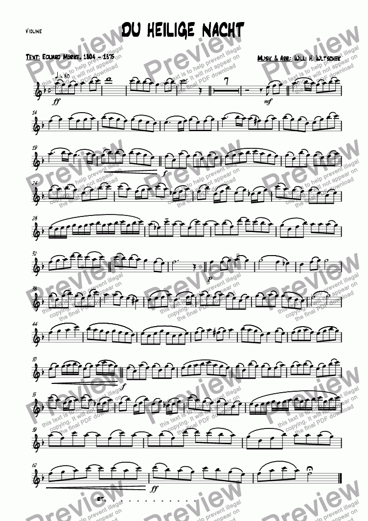 page one of the Violin part from DU HEILIGE NACHT