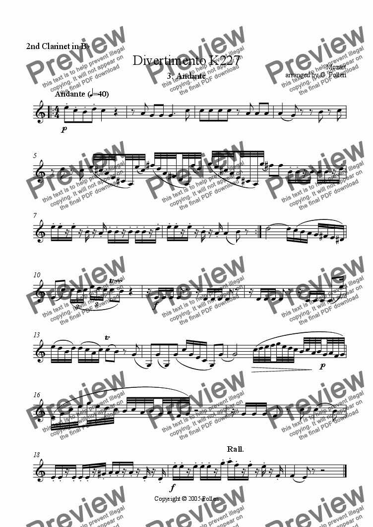 page one of the 2nd Clarinet in Bb part from Divertimento [K227] 3. Andante (Mozart)