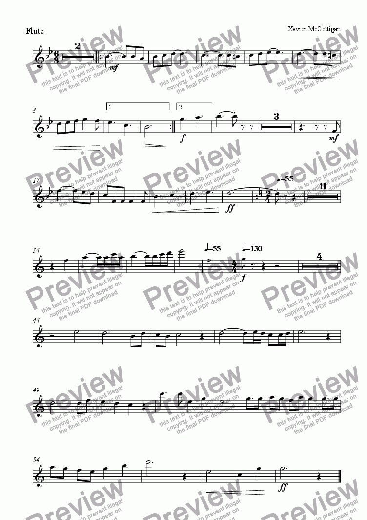 page one of the Flute 2 part from Nontet - Moderato Andante Vivace