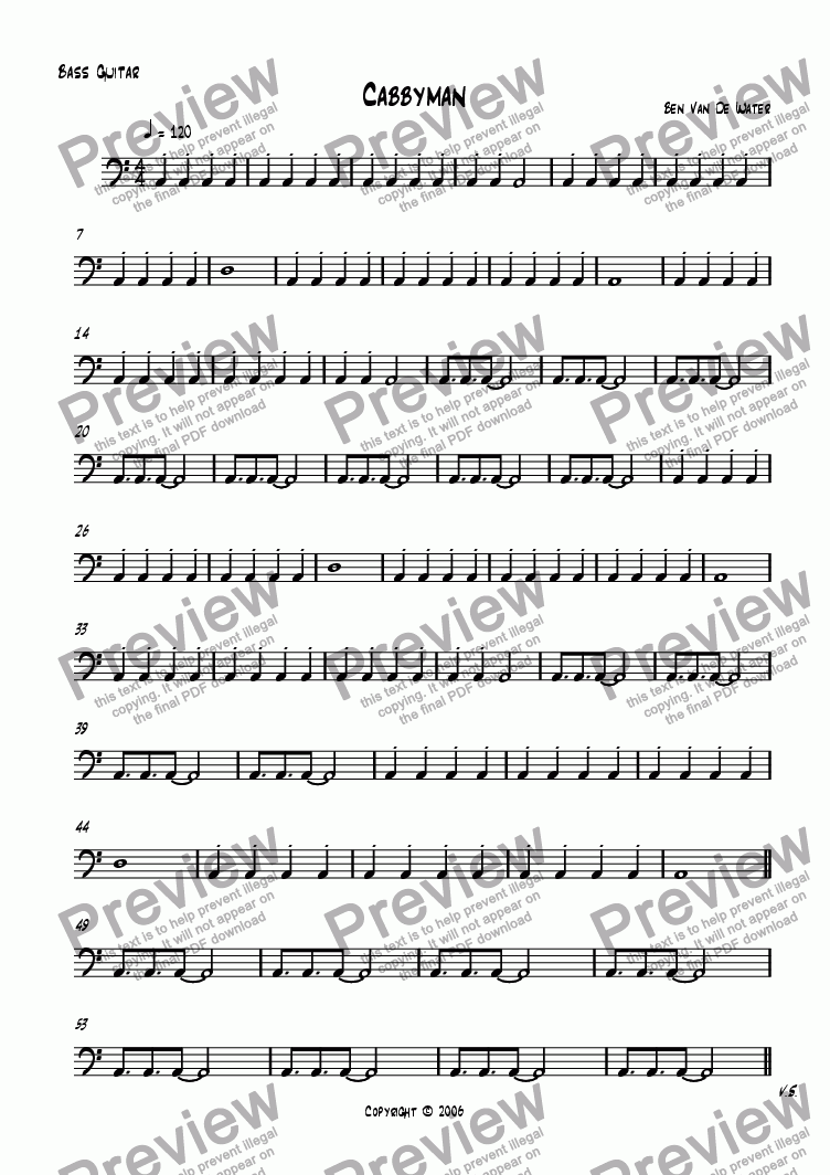 page one of the Bass Guitar part from Cabbyman
