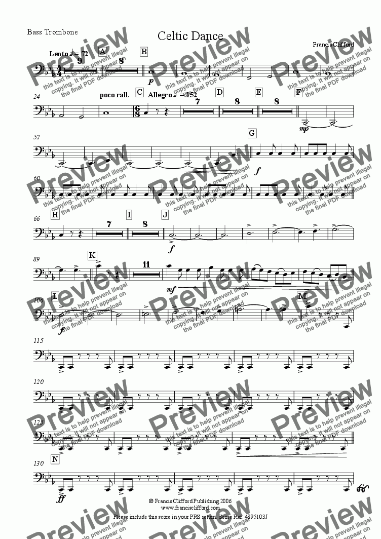 page one of the Bass Trombone part from Celtic Dance (Brass Band Version)