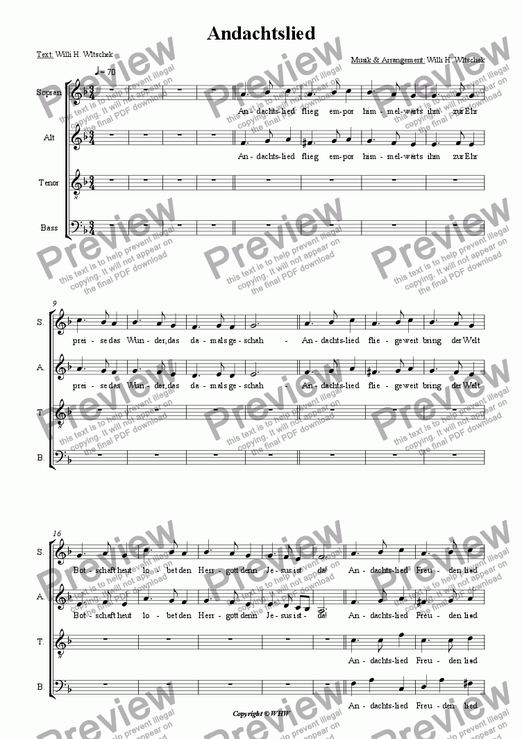 page one of the Choirpart part from ANDACHTSLIED