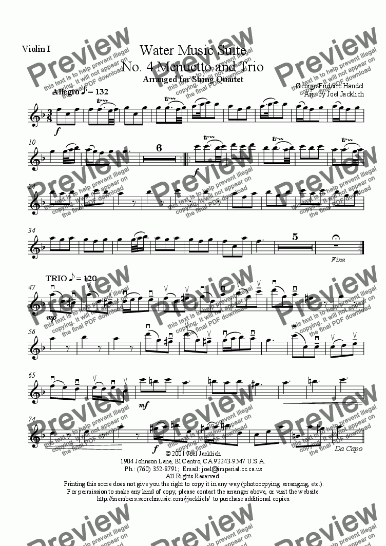 page one of the Violin I part from Water Music Suite, No. 4, Menuetto and Trio (F)