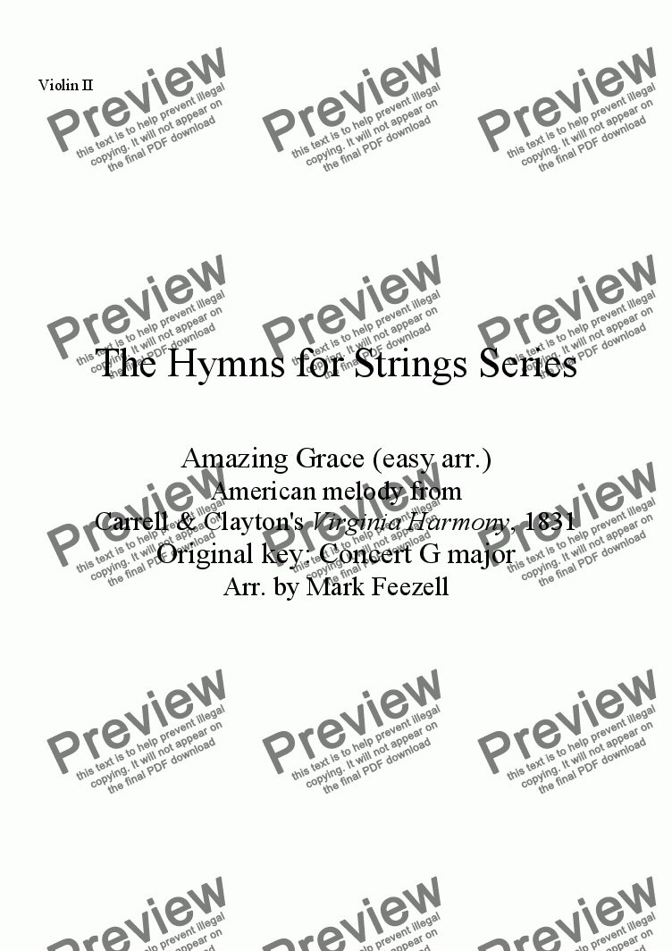 page one of the Violin II part from Hymns for Strings: Amazing Grace (easy arrangement), arr. for String Orchestra