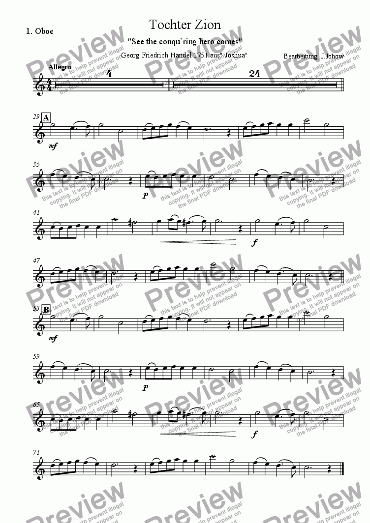page one of the 1. Ob part from Christmas Music 4 (Tochter Zion - See the conqu´ring)