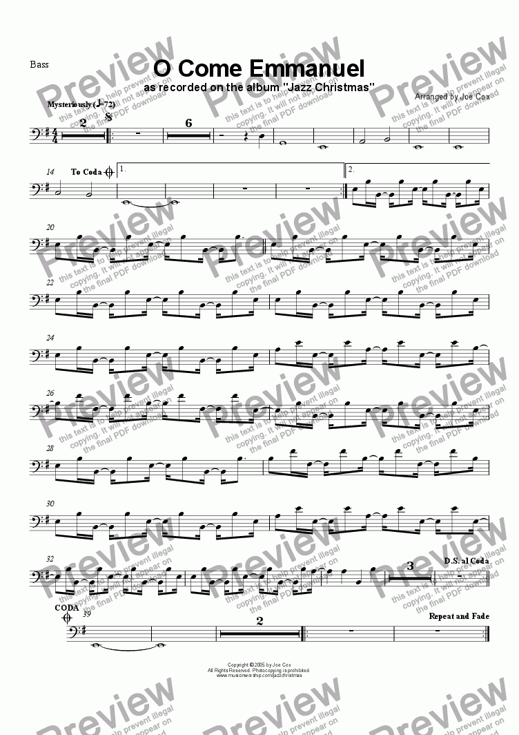 page one of the Bass part from O Come Emmanuel