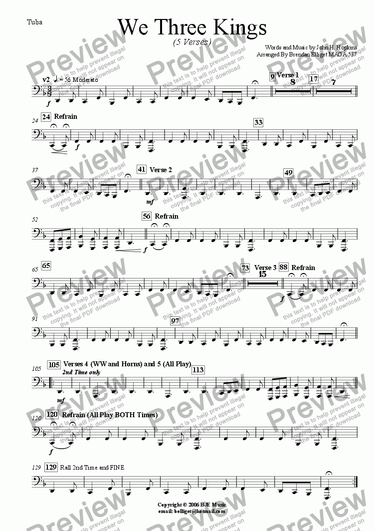 page one of the Tuba part from We Three Kings (Christmas) - Concert Band