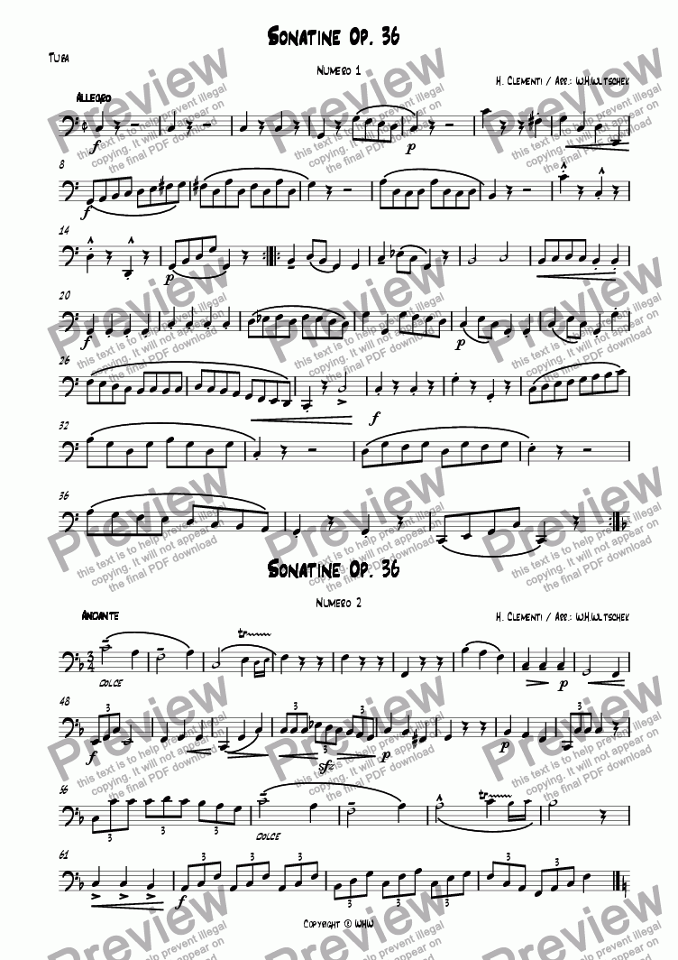 page one of the Tuba part from CLEMENTI - SONATINE OP. 36