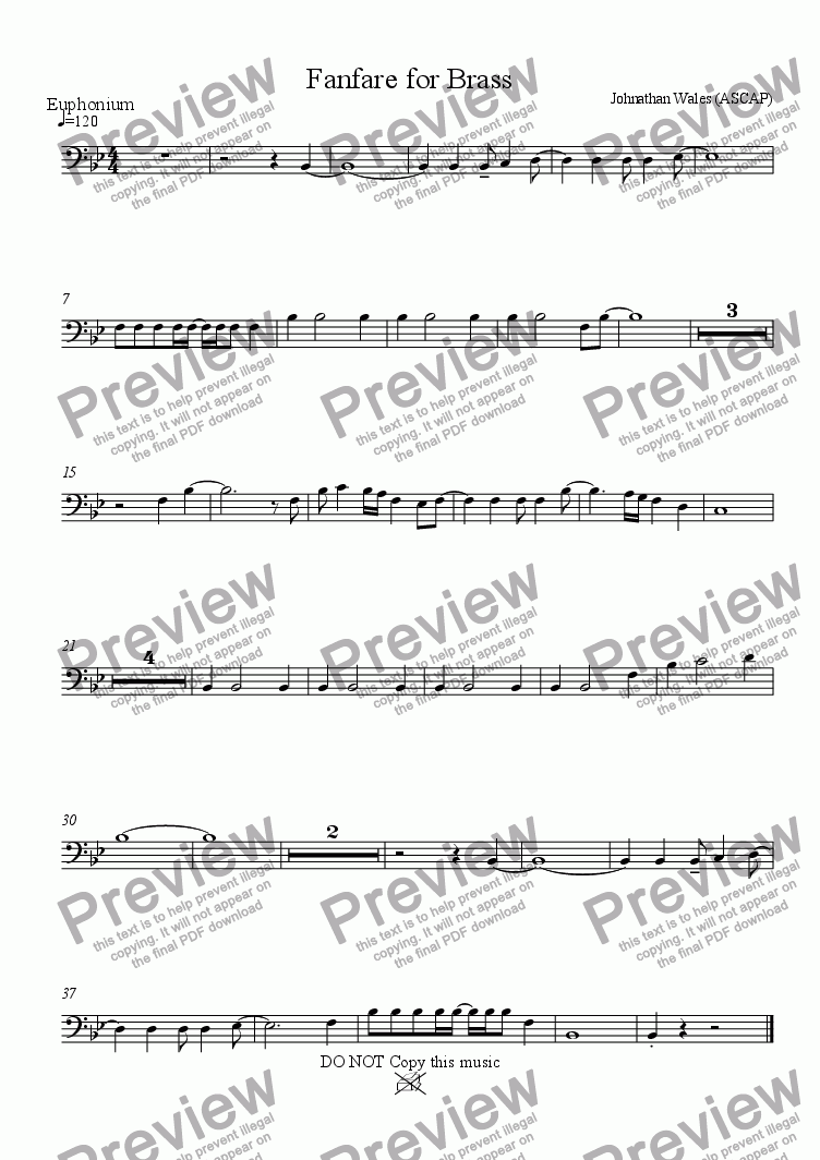 page one of the Euphonium(BC) part from Fanfare for Brass