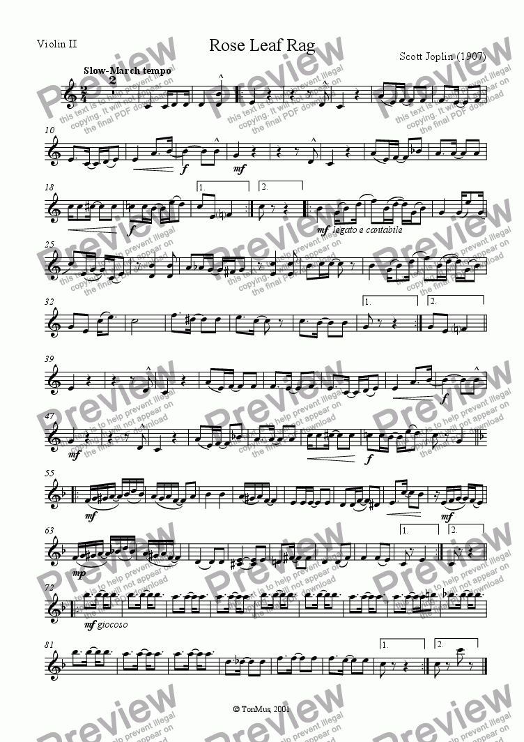 page one of the Violin II part from Rose Leaf Rag