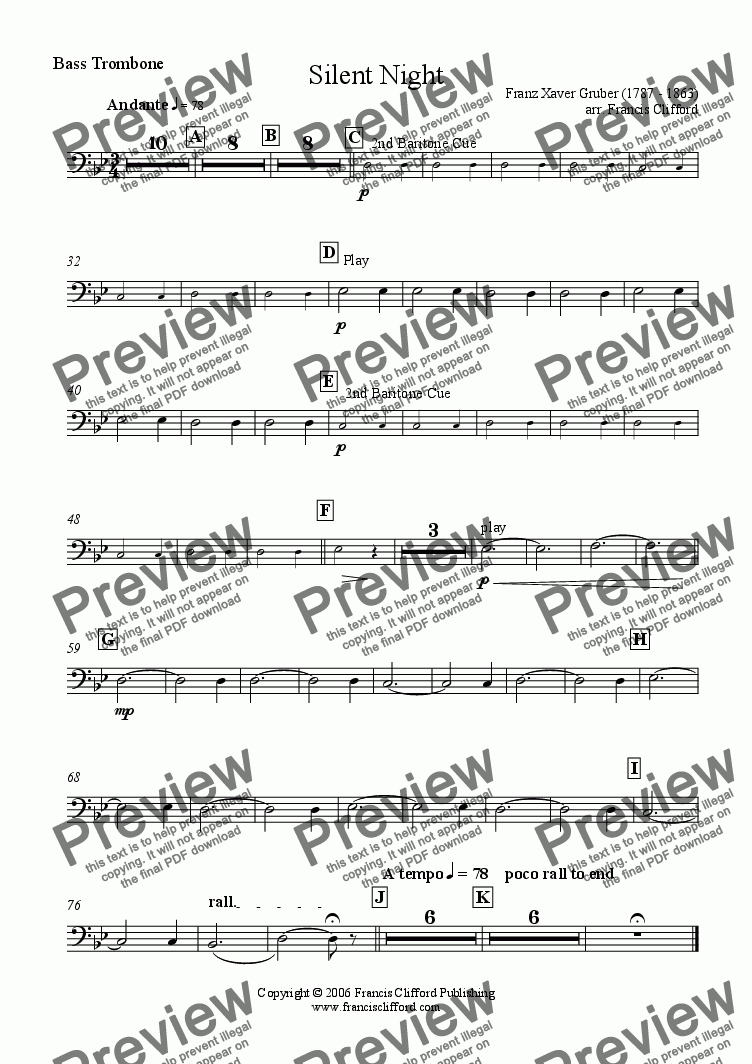page one of the Bass Trombone part from Silent Night (Brass Band Version)