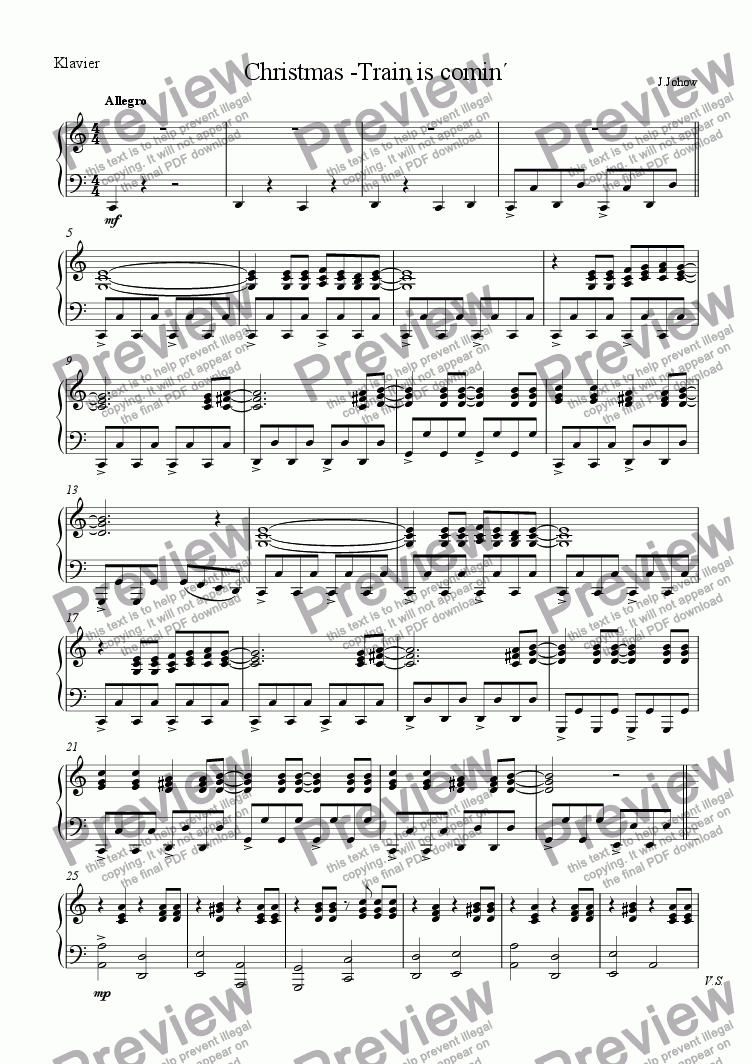 page one of the Piano part from Christmas-Train is comin`