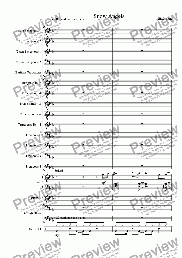 page one of the baritone saxophone part from Snow Angels