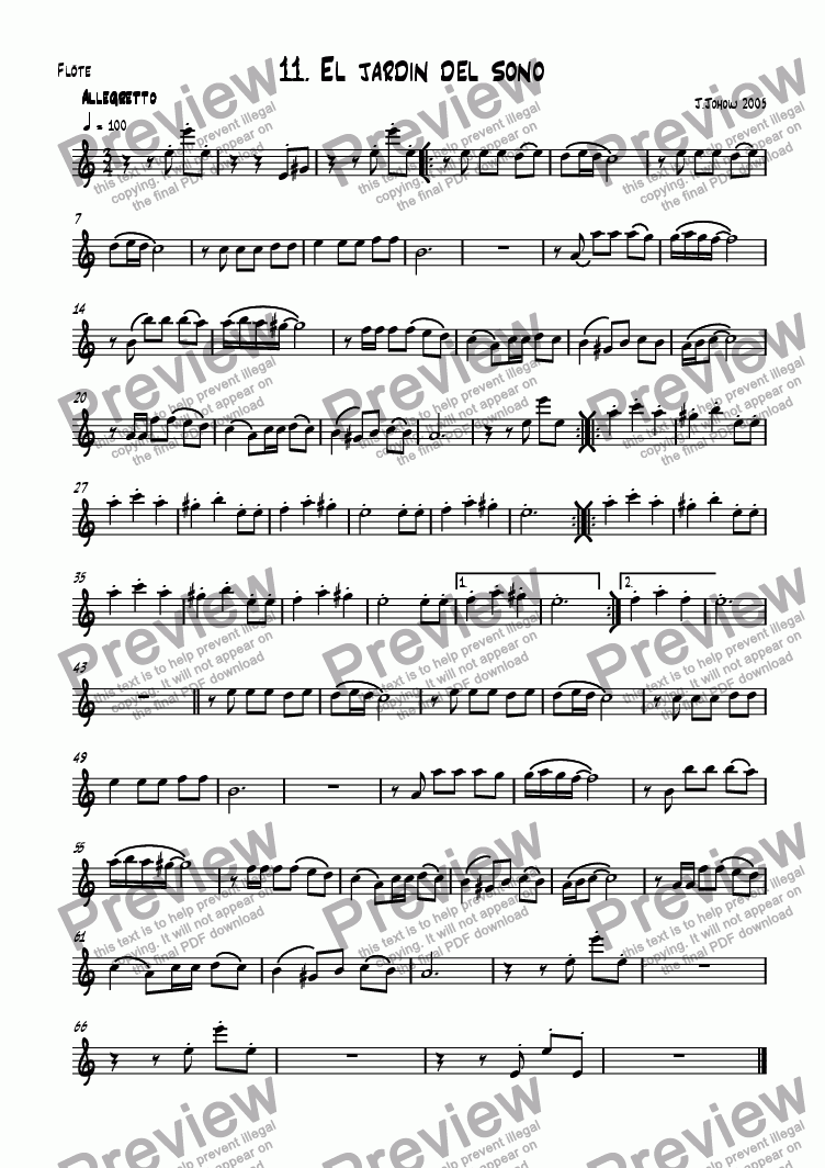 page one of the Fl part from Flute book 11 (El Jardin del sono)