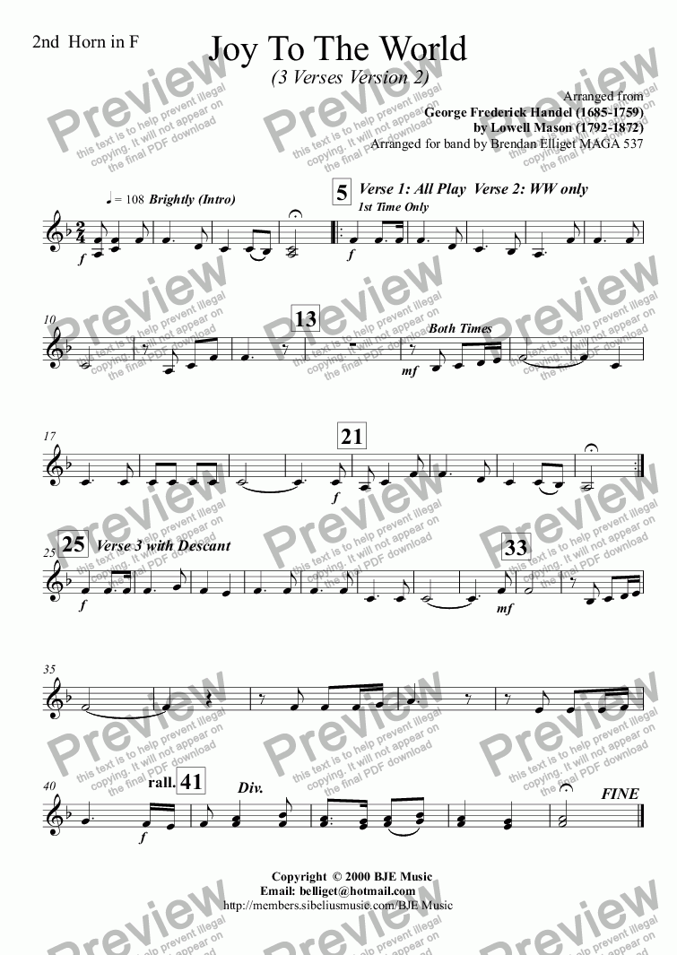 page one of the Horn 2 in F part from Joy To The World  (Christmas) - Concert Band