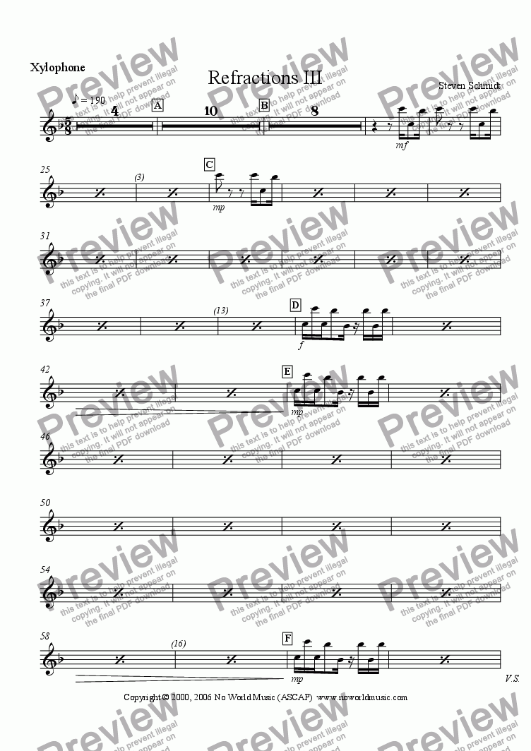 page one of the Xylophone part from Refractions III