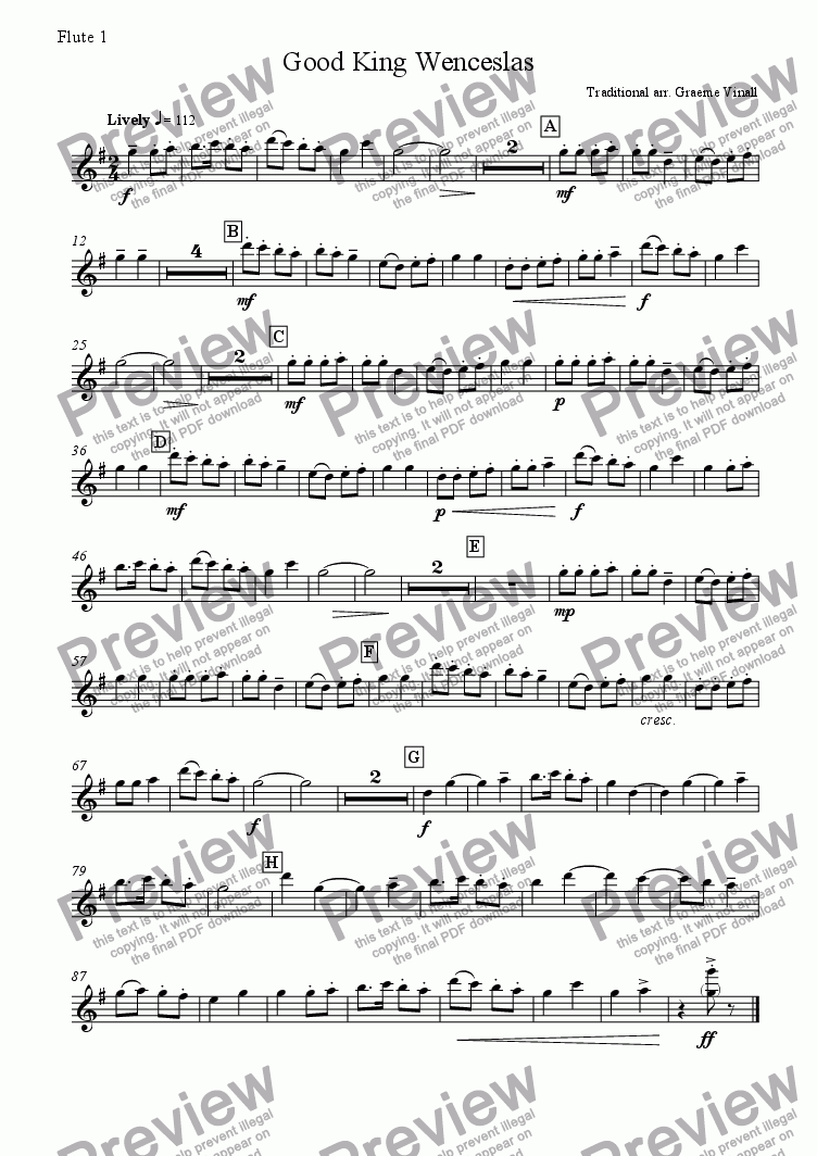 page one of the Flute 1 part from Good King Wenceslas