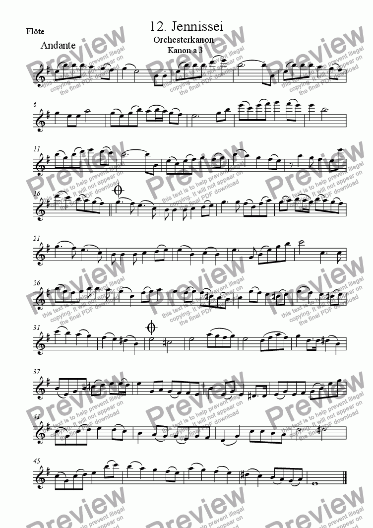 page one of the Fl part from School Orchestra Round 12 (Jennissei)
