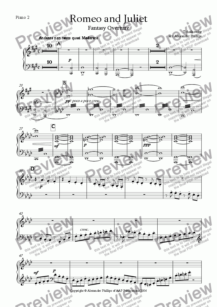 page one of the Piano 2 part from Romeo and Juliet Fantasy Overture