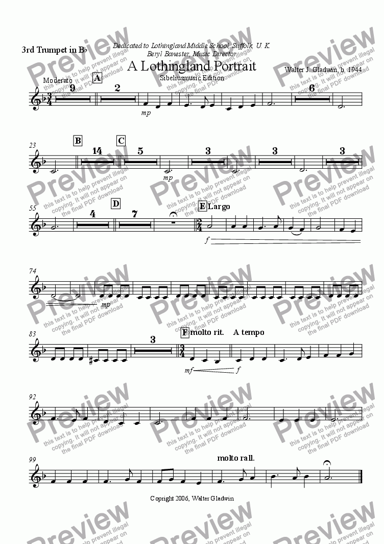 page one of the Trumpet 3 part from A Lothingland Portrait (Optional strings and handbells)